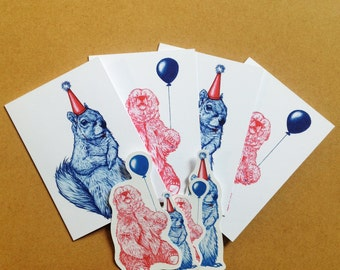 Party Pack. Bear and Squirrel card pack and stickers.