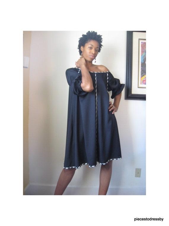 Black swing dress swing raglan sleeves black and white contrast
