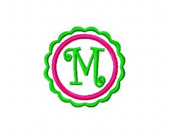 Scallop Circle Mini Monogram Machine Embroidery Design Set, Machine Embroidery Designs, Embroidery Font // Joyful Stitches