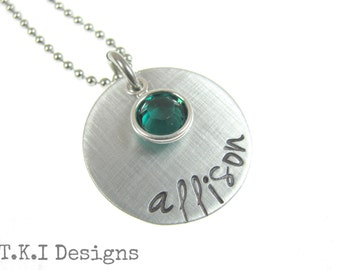 Personalized Necklace Hand Stamped Name Jewelry With Birthstone