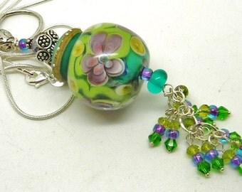 Lampwork and Crystal Pendant Necklace