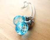 Wire Wrapped Blue Crackly Glass Briolettes with Long Sterling Silver Earwire