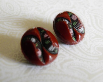 Small Vintage Brown Glass Buttons