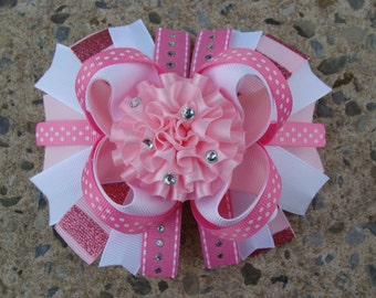Large Ribbon Flower Boutique Hair Bow You Pick any colors