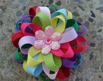 Rainbow Hair Bow Loopy Hair Bow Flower Hair Bow