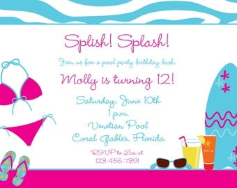 Girls Pool party birthday invitation -- pool party - flip flops - swimming party -- swimming party