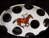 Horseracing oval serving platter