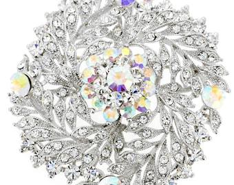 Crystal Flower Wedding Pin Swarovski Crystal Pin Brooch and Pendant 1010582