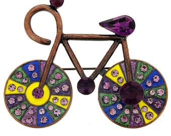 Vintage Style Amethyst Bicycle Pin Brooch  1001352