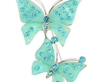 Green Couple Butterfly Pin Brooch 1003101