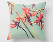 throw pillow cover, babys nursery decor, peppermint blue coral red orange pillow, coral tree photo, spring pastel pillow cover 16x16 18x18