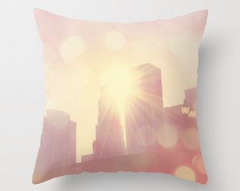 decorative throw pillow cover, 18x18 16x16 pink pillow cover, teenage girls room bedding, Los Angeles home decor, LA skyline, baby room