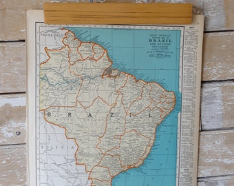 Vintage Brazil an Boliva Map 1937  Retro Find Rand McNally An Colliers Atlas