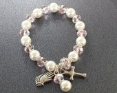 Reserved for Suzanne Barbara Bogo Sale Girls Childrens White Ivory Glass Pearl Pink Crystal First Holy Communion Rosary Bracelet