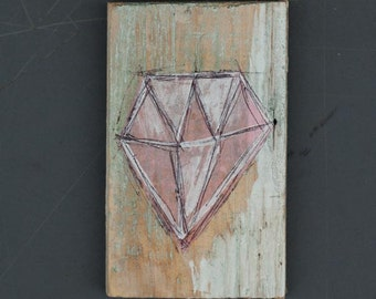 Diamond - mixed media on wood