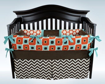 CLEARANCE! CREW 3 piece bedding set - Brown chevron, orange dots and squares baby bedding