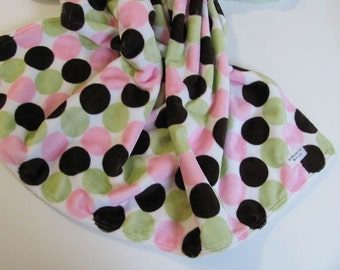 Ready to Ship // Pink, Brown and Sage Dot Minky with Light Sage Minky Dot Stroller Blanket
