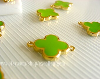 High quality Gold plated Double-sided Metal Clover Connector in Fluorescent green color- 15mm