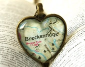 For Liane, Map Jewelry, Jewelry, Necklace, Glass Heart, Breckenridge Colorado, Map Jewelry, Colorado Heart Necklace, 1971 Map