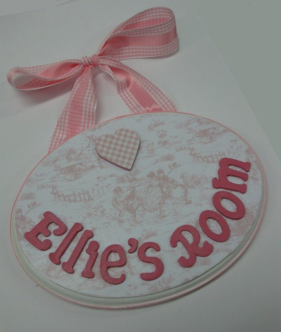 Baby Girl Nursery Name Plaque Pink and White Toile with Gingham