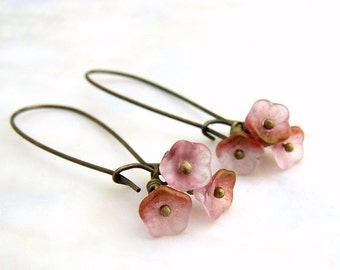 Matte Pink Flower Earrings with antique gold highlights - Flower Fairy Jewelry - The garden fairy's are going to a party.