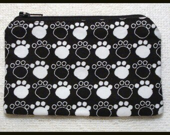 Coin Purse with Zipper Closure Handmade with Pawprints on Black Fabric