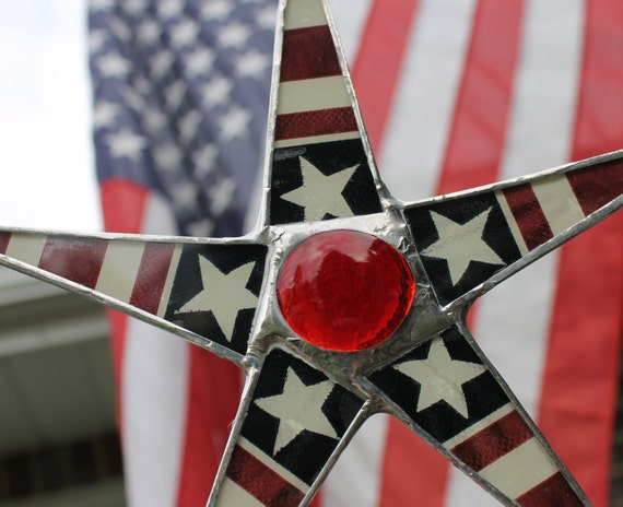 FDR Star -9 inch lacquered glass star- Patriotic 4th of July Decoration- stained glass star