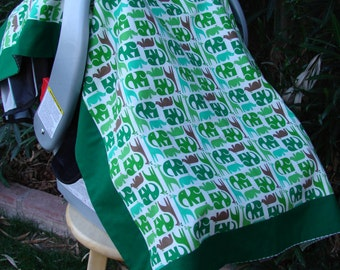 Baby Car Seat Canopy - Car Seat Cover - Green Car Seat Canopy - Boys Car Seat Cover - Baby Shower Gift