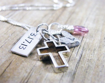 open cross artisan heart, faceted pink topaz, date tag necklace baptism necklace