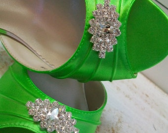 Lime Green Wedding Shoes - Over 200 Colors Dyeable Shoes - Wide Sizes Available - Swarovski Crystal Shoes - Peep Toe Bridal Shoe By Parisxox