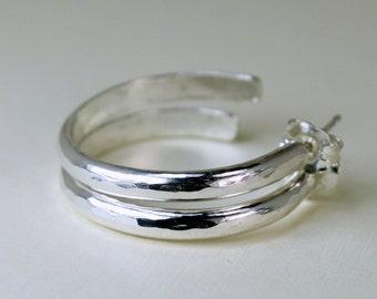 """Sterling Hoop Posts - Sterling Silver Hoops - Hoop Post Earrings - Hammered Hoops - 1"""" Hoops"""