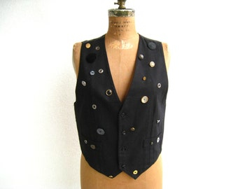 Vintage Vest Black Vest Vintage Vest Women's Button Vest The Limited Forenza Medium Gold Silver Cotton Traditional Style Gift For Her ohzie