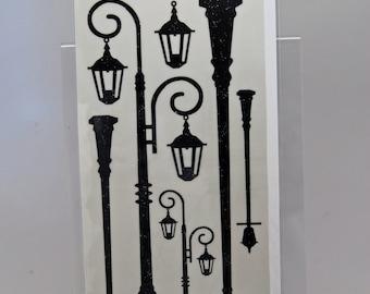 KaiserCraft Black Rub Ons -- Timeless Lamp Posts -- Street Lights Steampunk Shabby Chic