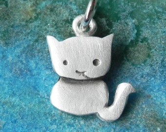 Cat pendant sterling  kitty charm gifts under 25 stocking stuffers
