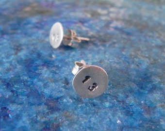 Halloween Lucky 13 custom number stud earrings in sterling silver - good luck studs