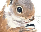 Watercolor PRINT Squirrel - Squirrels Love Coffee, Animal Watercolour, Squirrel Illustration, 5x7 Print - WaterInMyPaint