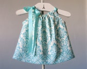 Baby Girls Aqua Dress and Bloomers Outfit - Aqua and Cream Damask Sun Dress - Baby Girls Aqua Clothing - Size Newborn, 3m, 6m, 9m,12m or 18m
