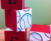 Baseball personalized Wood Blocks - Nursery or room decor - custom kids decor - personalized sports bedroom - nursery personalized decor