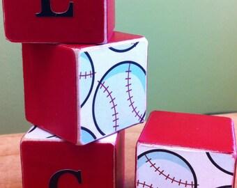 Baseball personalized Wood Blocks - Nursery or room decor - custom kids decor - personalized sports bedroom - nursery personalized decor