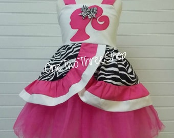 Custom Boutique Clothing Barbie Top and Tulle Set Girl