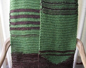UNIQUE Hand Knit BIG Warm Soft SCARF in Brown & Green / Ready to ship