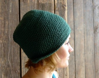 Pine Green Wool Hat, Crochet Earflap Hat, Slouchy Beanie, Aviator, Cloche, Winter Accessories - Adult Women Headwear