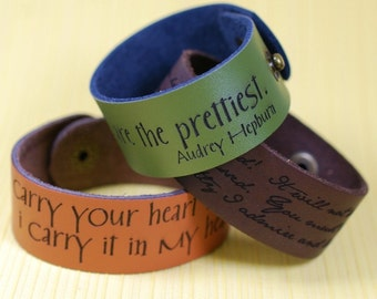 "Your favorite quote --- custom engraved 1"" leather bracelet"
