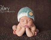 Newborn button tab hat