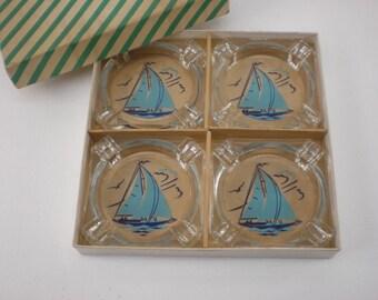 Mid Century Box 4 Set Glass Blue Sailboat Ashtrays