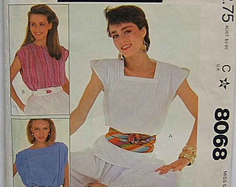 Vintage 80's Misses' Tops, McCall's 8068 Sewing Pattern UNCUT Sizes Petite 6, 8