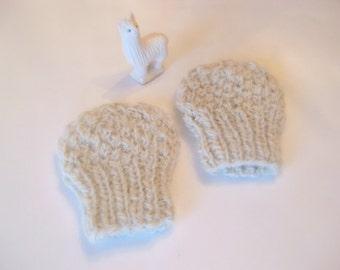 Handspun Alpaca Thumbless Baby Mitts 0 - 3 months