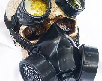 Black 2 pc. 'DIY' Respirator Set  Steampunk Double Filter GAS MASK and Matching Goggles
