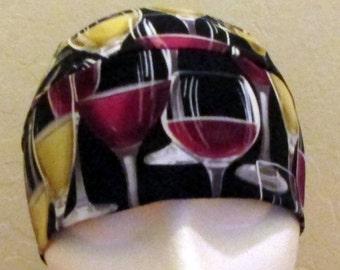 Black Skull Cap with Glasses of Wine, Red Wine, White Wine, Chemo Cap, Do Rag, Biker, Motorcycle, Hair Loss, Bald, Surgical Cap, Handmade