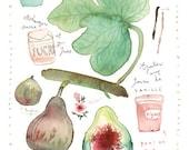 Fig marmalade recipe print, Botanical poster, Food art, Kitchen decor, Summer fruit, 8X10 Watercolor painting, Green, Purple